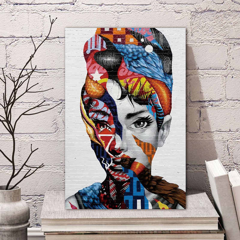 Canvas Painting Wall Art Pictures Prints Colorful Woman on Canvas Home Decor Wall Poster Decoration for Living Room No Frame