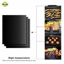 3pcs Pawaca BBQ Grill Mat Non Stick BBQ Grill Roast Mat Sheet Cooking Baking Liners Reusable Outdoor Picnic Fry Cooking BBQ Tool