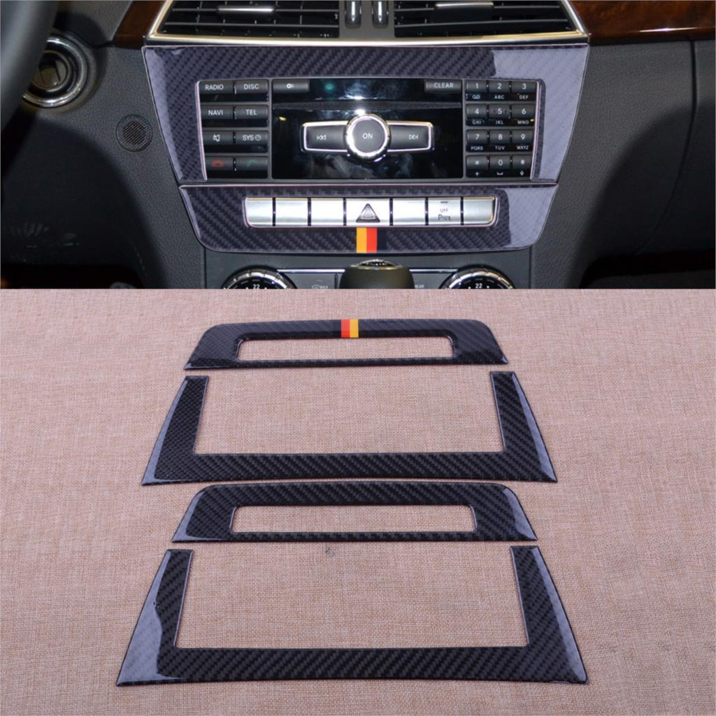 CITALL 2pcs New Car Central Control CD Panels Cover Trim Frame For Mercedes Benz W204 C220 CDI C200 2010 2011 2012 2013