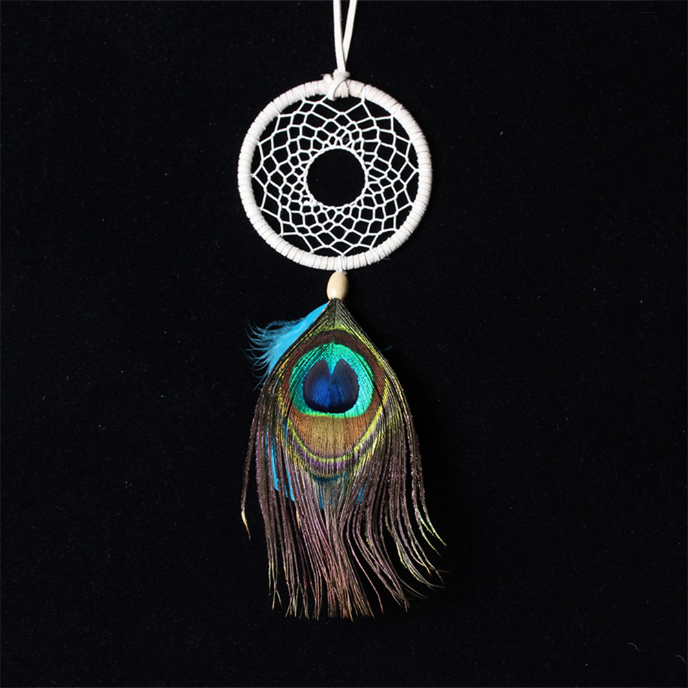 Handmade Silver Dreamcatcher Feather Beads for Home Wall Car Hanging Decor