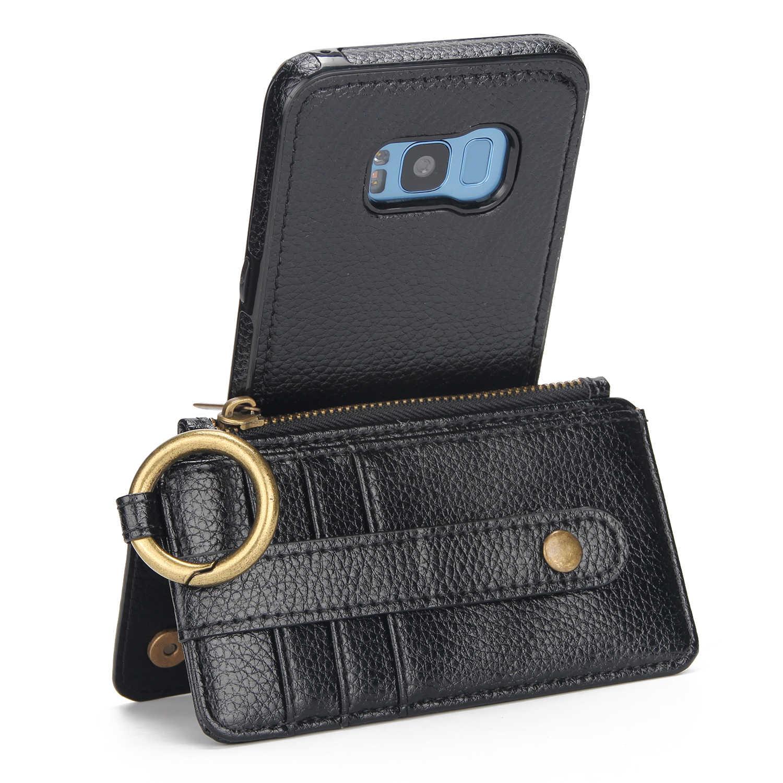 Carteira de couro Do Caso Da Aleta para O Iphone X 8 7 6 6S Plus 5 5S SE Samsung S8 S7 S6 cartão Litchi Padrão Fique Destacável Capa de Dupla Utilização