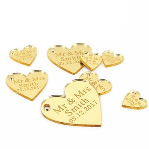 50 * Personalised Custom Wedding Wine Charm Gold / Silver Mirror / Clear / Wood Heart Label Tag Party Favors Gift Wedding Decor