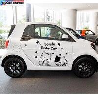 Cartoon Cat Graphic Vinyl Decal Car Door Body Decor Sticker Funny Lovely Styling Stickers For Smart MINI Fiat Suzuki Opal Honda