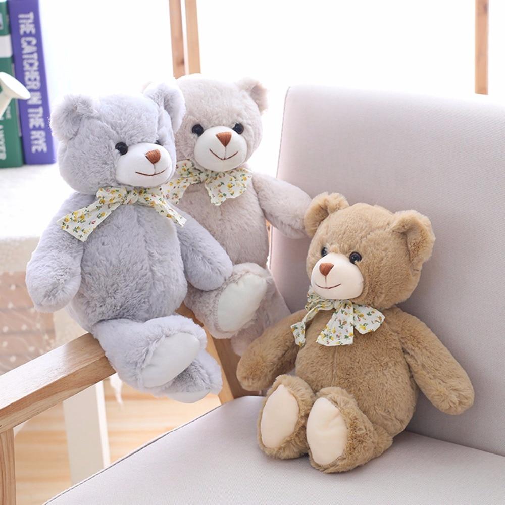 1pc 30cm Cute Teddy Bear With Bow Tie Soft Kawaii Kids Toys Staffed Animal Plush Doll For Children Birthday Christmas Brinquedos