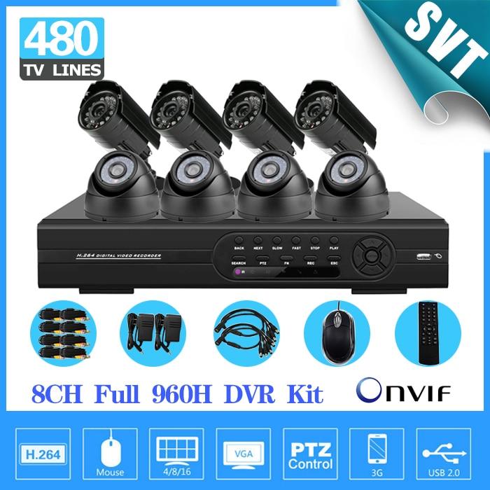 8CH full D1 DVR recorder kit 8PCS 480TVL CCTV Camera video Home Security CCTV surveillance System