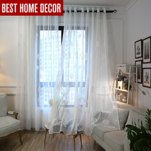 Elka white linen embroidered sheer tulle curtain for living room bedroom voile curtains window chinese