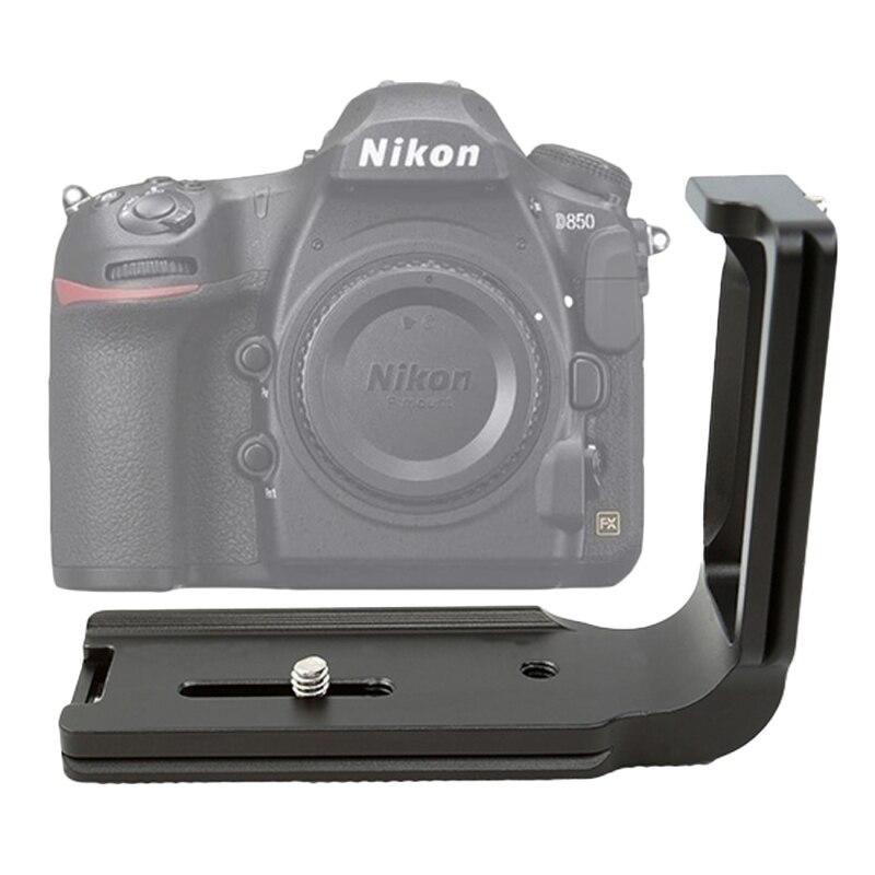 Support de plaque L à dégagement rapide FITTEST CNC aluminium 1/4 ''support de Base de prise de vue verticale universelle pour accessoires d'appareil photo Nikon D850