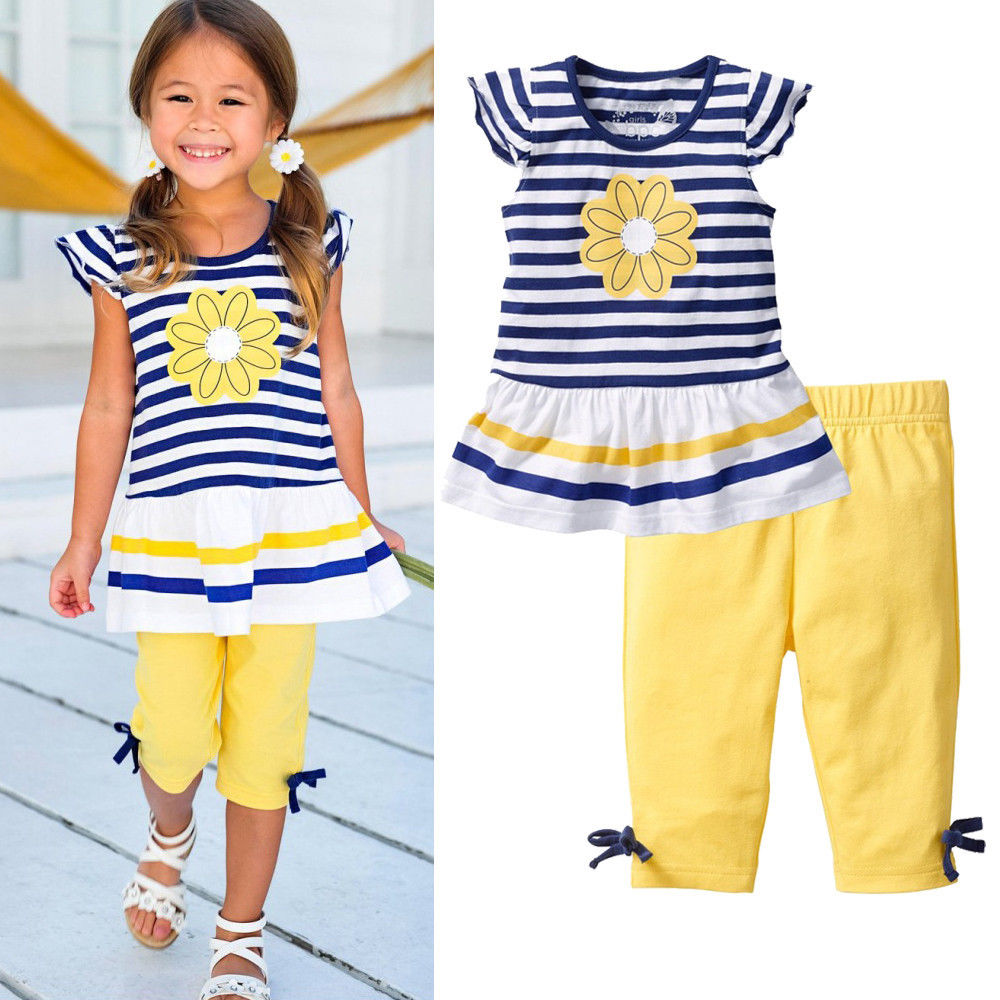 2Pcs Children Baby Girls Kids Clothes Sets Flower T-Shirt Tops + Shorts Pants Striped Outfits Summer Clothes 2016 New Arriving flower sleeveless vest t shirt tops vest shorts pants outfit girl clothes set 2pcs baby children girls kids clothing bow knot