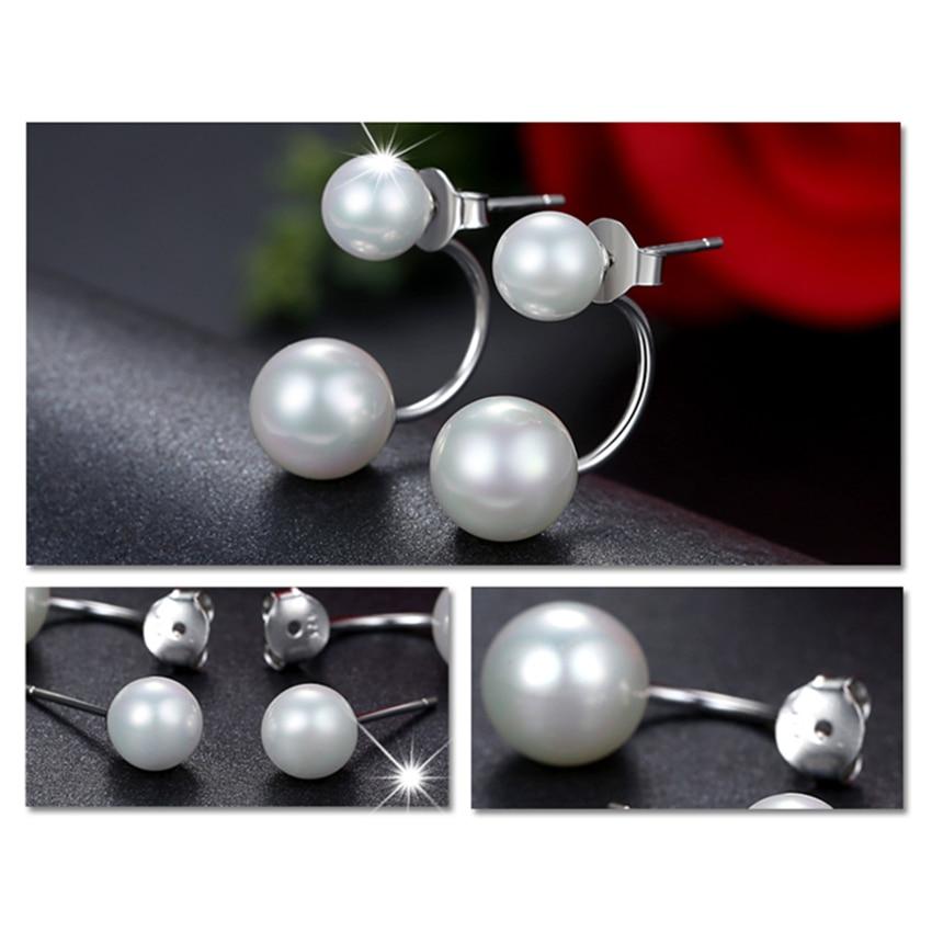 Női kettős utánzat gyöngy gömb fülbevalók divat ezüst - Divatékszer - Fénykép 5