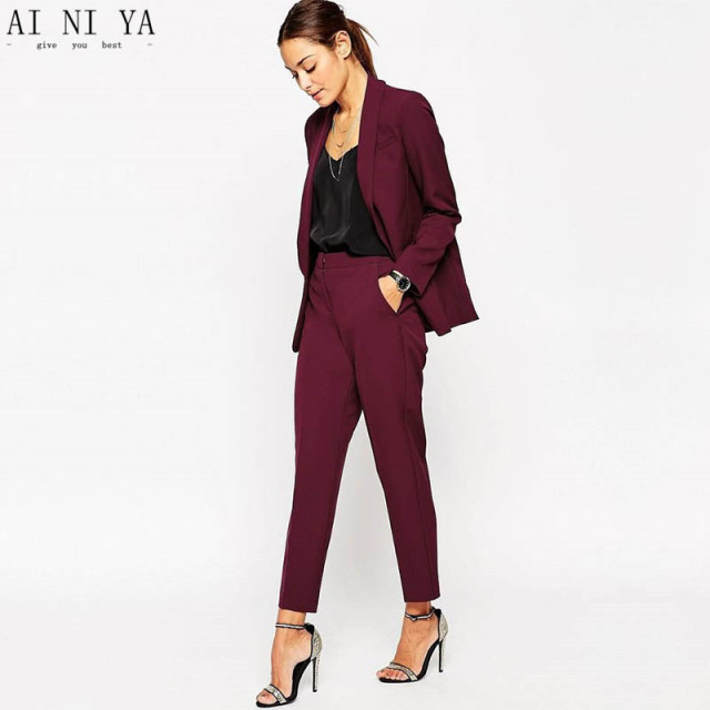 7bad91bcc56 Women Pant Suits Burgundy Women Ladies Formal Custom Made Jacket+Pants  Tuxedos New Arrival Suits