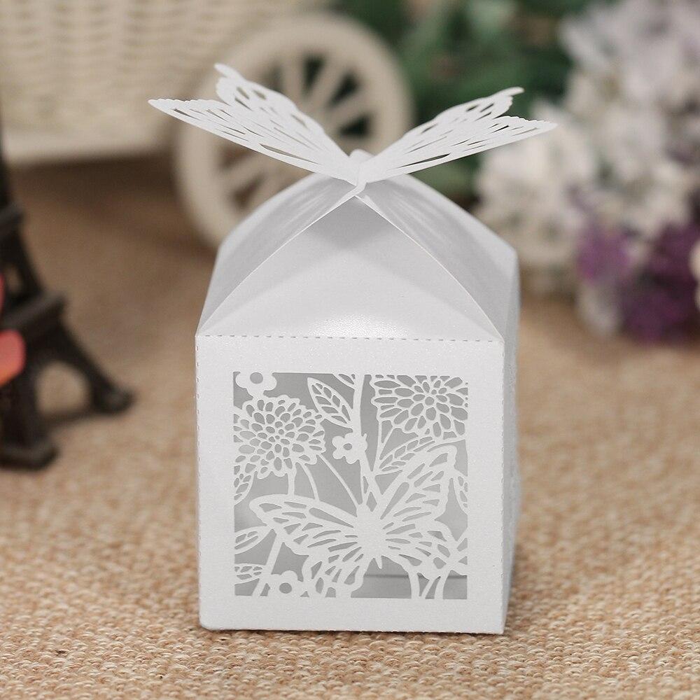 50pcs/set Mini Laser Cut Candy Box White Pearl Paper Rose Butterfly ...