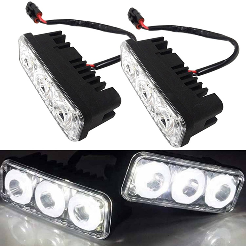 2Pcs Universal Waterproof Car High Power Aluminum LED Daytime Running Lights with Lens DC 12V Super White 6000K DRL Fog Lamps 20 5cm car drl cob dc 12v 6000k universal light source daytime running lights fog lamps car styling auto accessories led icarmo