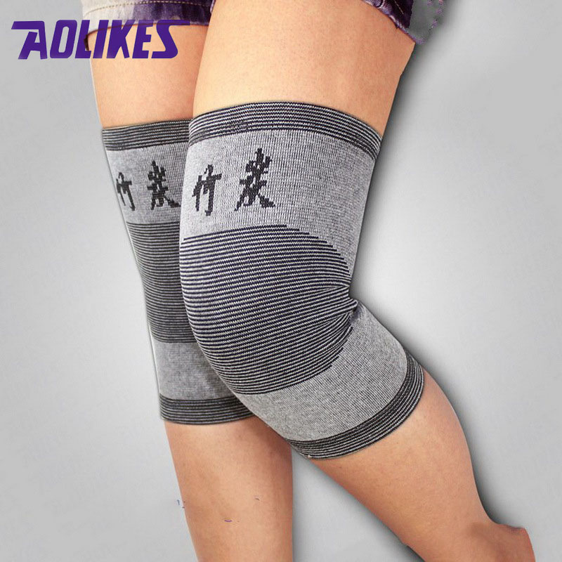 AOLIKES 2 Pcs Bamboo Elastic Knee Pads For Volleyball Thin Breathable Cycling Bike Knee Brace Protector Kneepads Sports Safety