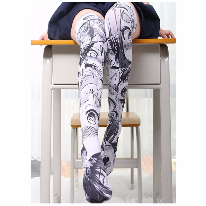 2019 Womens Female Long Knee Sock Girls Fashion Printed Thin Stockings Casual Thigh High Over   Knee High Socks 7ZJQ-SW07
