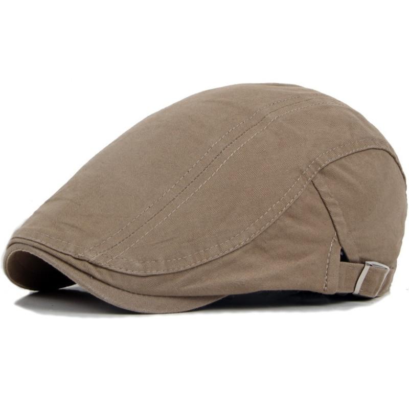 HT747 Classic Pánská čepice Beret Plain Cotton All Seasons Beret Hat Jednobarevný Gastby Cap Unisex Ivy Cap Vintage Cabbie Newsboy Cap
