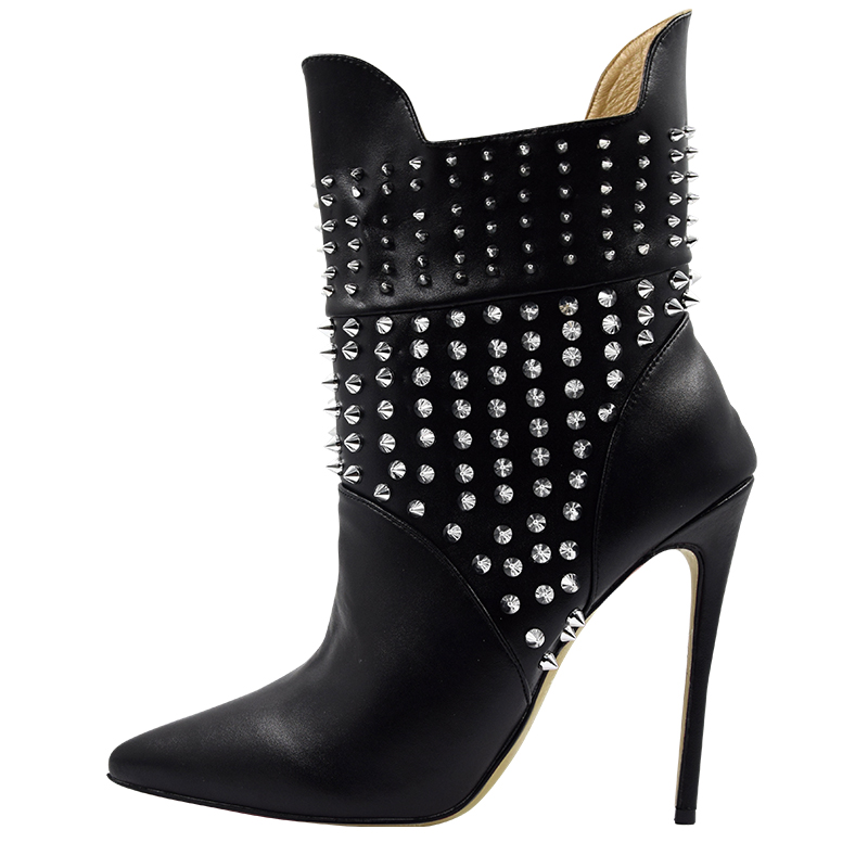 Big Size 35 45 Warm Women Ankle Boots Sexy Silver Spikes Rivets Latest Design Luxury Brand