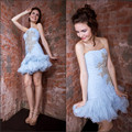 2017 New Arrival Teenager White A line Beaded Organza Special occasion 2699S short strapless cocktail dress