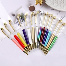100Pcs Empty Tube Metal Ballpoint Pen High Grade Diamond Write Pen With no Gold Foil Oil Ball Pens Birthday Valentines Day Gift