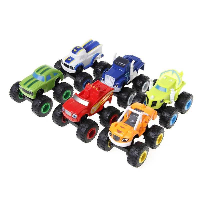 6 Pcs Blaze Kendaraan RACER Mobil Truk Hadiah untuk Anak-anak Diecast Mainan Mainan Mesin dengan Roda Besar
