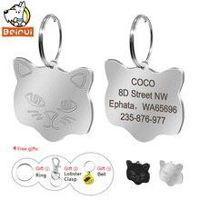 Персонализированные ID-бирки для кошек с гравировкой на заказ, Именные Бирки для кошек, аксессуары для кошек, ошейник, украшение для щенка Kittten с колокольчиком