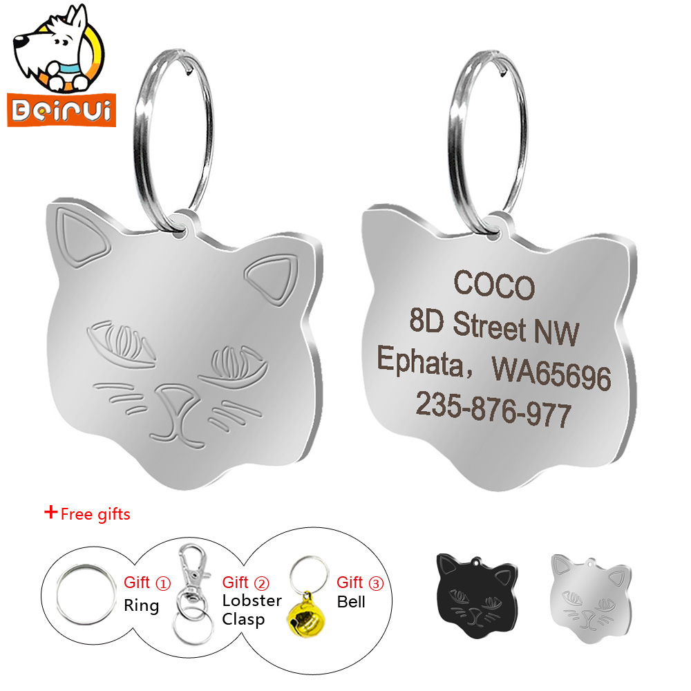 Personalized Cat Id Tags Custom Engraved Cats Name Tag Cats Accessories Collar Decoration For Kittten Puppy With Bell