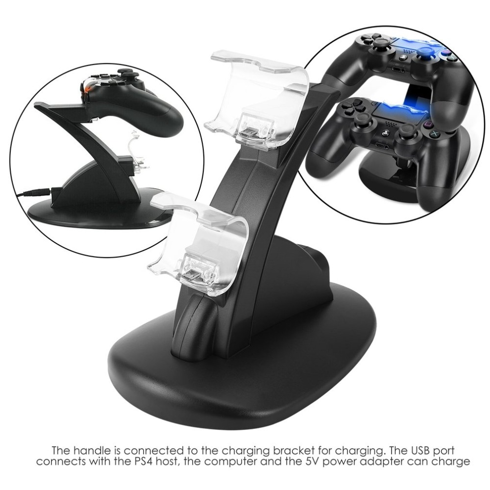 LED Dual USB Charging Charger Dock Stand Cradle Docking Station for Sony Playstation 4 PS4 Game Gaming Console Controller gift