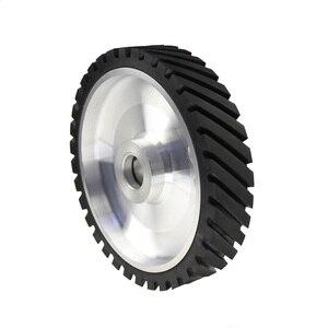 Image 2 - 250*50mm Serrated Belt Grinder Contact wheel Rubber Wheel for Abrasive Sanding Belt