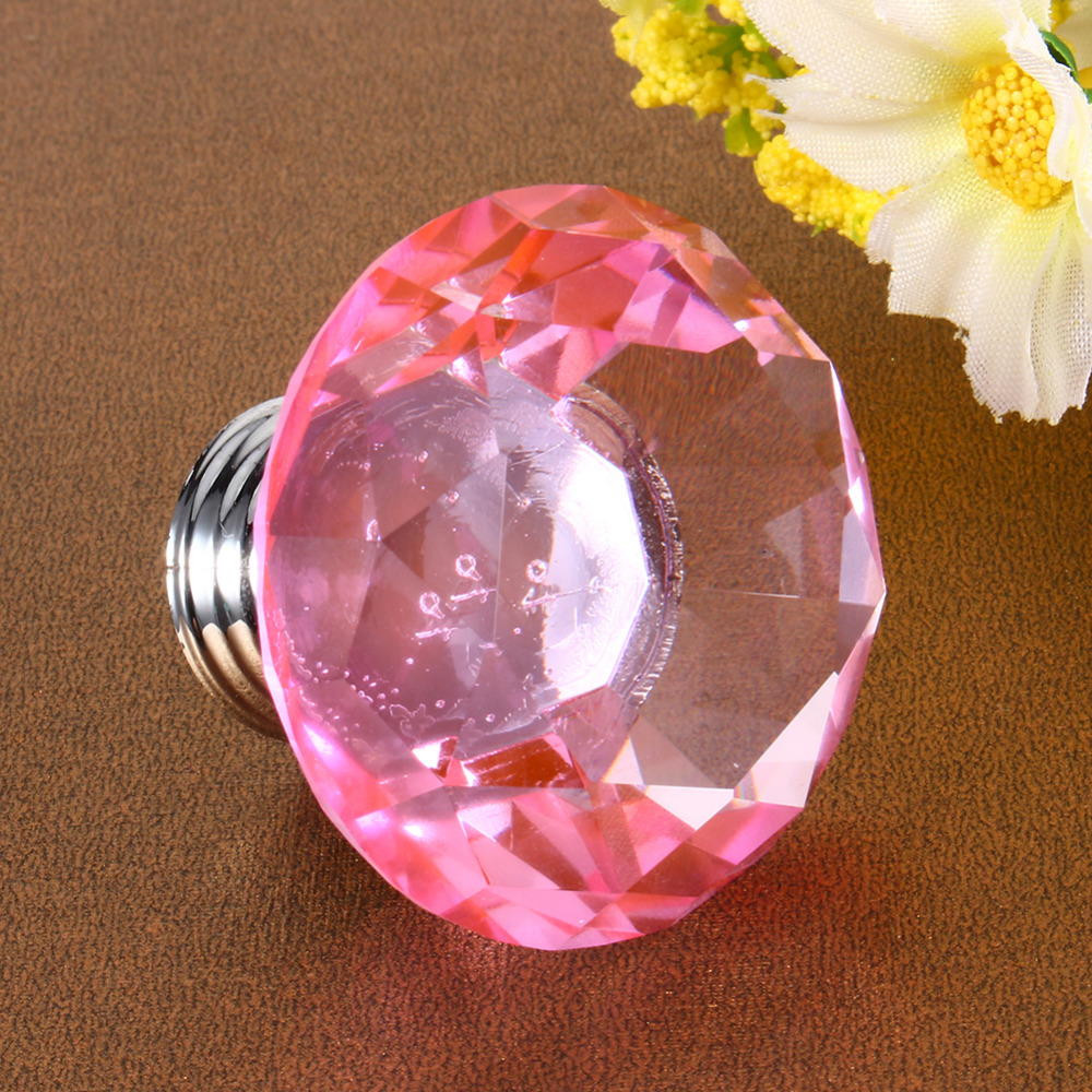 Colored glass door knobs - New Arrival 8pcs Sets 40mm Pink Crystal Glass Door Knobs Drawer Cabinet Furniture Kitchen Handle