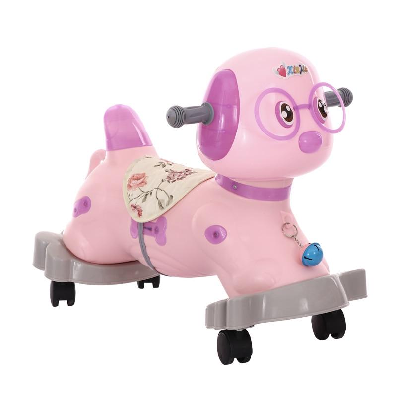 Bébé cheval à bascule avec musique rouleau en plastique bébé cadeau d'anniversaire cheval à bascule monter sur les animaux enfants jouet Ride enfants cheval jouets - 4