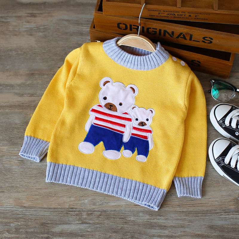 BibiCola Spring Autumn Toddler Kids Cotton Cartoon Sweaters For Boys Girls Baby Fall Sweater Infant Knit Clothing Outerwear