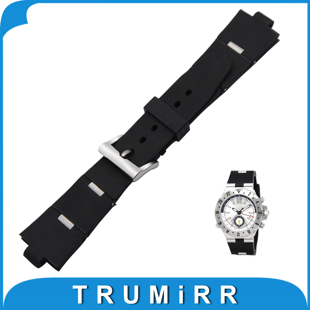 22 24 x 8mm Convex Watchband Silicone Rubber Strap for Bvlgari BVL Diagono Men's Watch Band Steel Buckle Belt Wrist Bracelet wi fi роутер tp link td w8961n