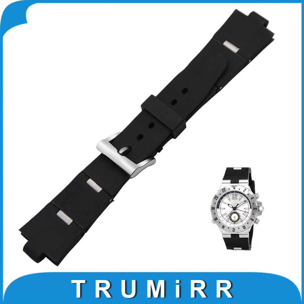 22 24 x 8mm Convex Watchband Silicone Rubber Strap for Bvlgari BVL Diagono Men s Watch
