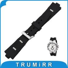 22 24x8mm Convexa Correa Correa De Caucho De Silicona para Bvlgari BVL Diago hombres Reloj Banda de Acero Hebilla de Cinturón de Pulsera pulsera
