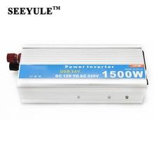 1pc SEEYULE 1500W Car Power Inverter Adapter Converter DC 12V 24V to AC 110V / 220V USB Charger for DVR TV Laptop Fan Camping