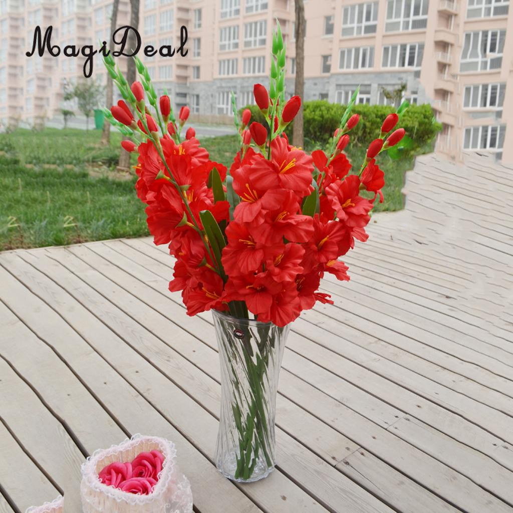 magideal realistic 1pc artificial simulation gladiolus flower stem wedding bouquet posy table. Black Bedroom Furniture Sets. Home Design Ideas