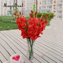 Magideal realista 1 pc simulação artificial gladiolus flor haste bouquet de casamento/posy mesa arranjo decoração para casa 8 cores