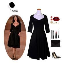 Ретро стиль 50-х, Одри Хепберн и вырезом сердечком, 3/4 рукава маленькое черное платье кинозвезды рокабилли таллас Грандес размера плюс 4xl vestidos