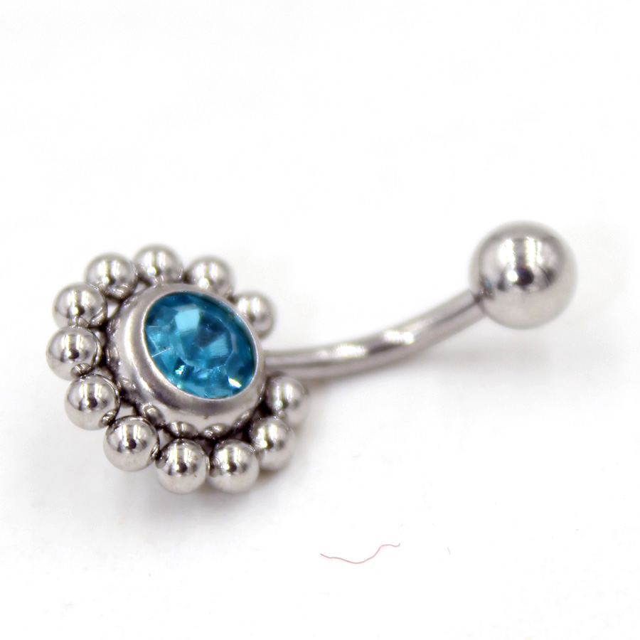 1Pcs Fashion Round Crystal Ball Belly Button Rings -8174