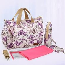 Купить с кэшбэком 2015 NEW Mother Bag Baby Nappy Bags Large Capacity Maternity Mummy Diaper Bag Cotton Flower Style Retail 1 pc