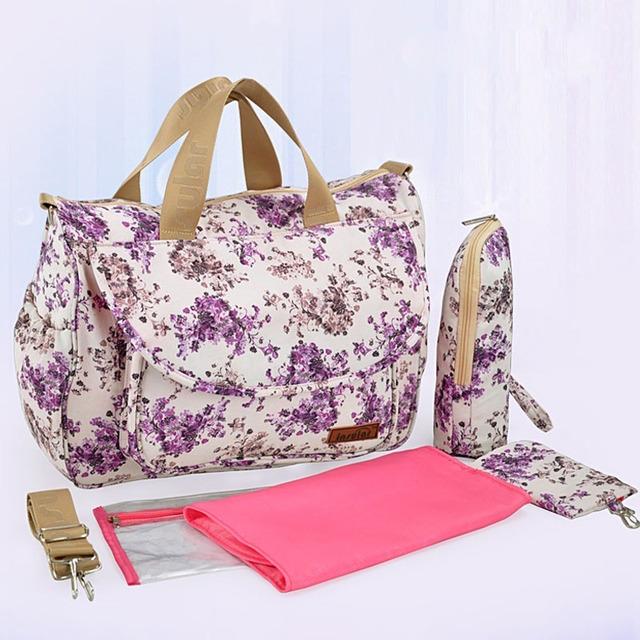 Nuevas bolsas de pañales multifuncional bolso de la madre maternidad momia bolsas de pañales de alta calidad estilo de la flor del bolso de mamá bolsa de cochecito de bebé