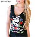 Camisa Da Forma T verão Mulheres Sem Mangas Com Decote Em V Preto Sexy Magro Tops cabeça Do Crânio Print floral Oco Camisetas Feminina Camisetas