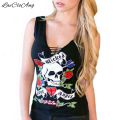 Summer Fashion T Shirt Women Sleeveless V-Neck Black Sexy Slim Tops Skull head floral Print Hollow Camisetas Feminina T-Shirts