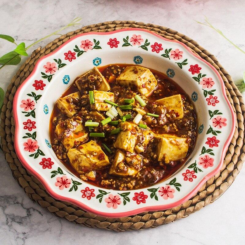 Assiettes à Dessert sous glaçure couleur Main peinte à la Main assiette bord vague récipient à nourriture vaisselle ensemble bol à soupe cadeaux de noël