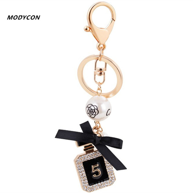 New Brand Perfume Bottle Luxury Keychain Key Chain & Key Ring Holder Keyring Porte Clef Gift Men Women Souvenirs Car Bag Pendant