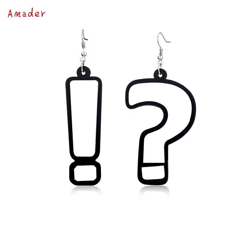 Acrylic Hook Drop Earrings Question Mark&Exclamation Mark Fashion Asymmetric Drop Earrings Jewelry For Girl Wholesale Earring