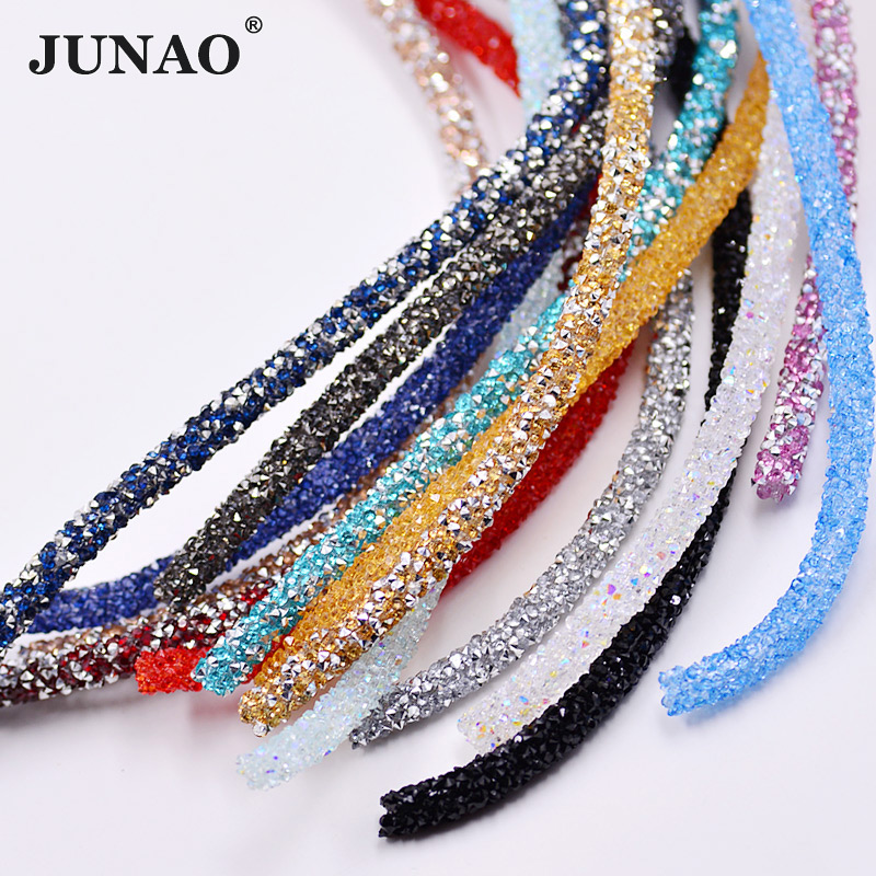 JUNAO 1 Meter Resin Tube Rhinestones Chain Trim Crystal Beads Appliques Білезік Jewelry үшін Strass Banding Киім жасау