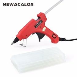 NEWACALOX 20W EU/US Hot Melt Glue Gun with Free 20pc 7mm Glue Stick Industrial Mini Guns Thermo Electric Heat Temperature Tool