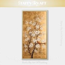 Nowy projekt ręcznie malowane wysokiej jakości kwitnące kwiaty Plum Blossom obraz olejny na płótnie kwiaty obraz olejny do salonu w Malarstwo i kaligrafia od Dom i ogród na