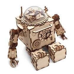 Robotime творческий DIY 3D стимпанк робот деревянная головоломка сборки игрушка музыкальная шкатулка подарок для детей подростков взрослых AM601