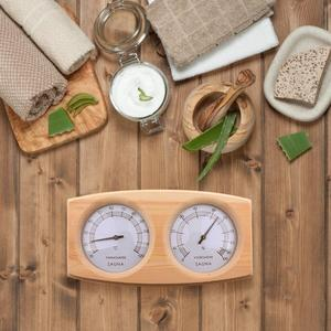 Image 3 - Sauna Room Thermometer Hygrometer Wooden Double Pointer Hygrothermograph Humidity Measurement 20 To 40 Degrees Celsius
